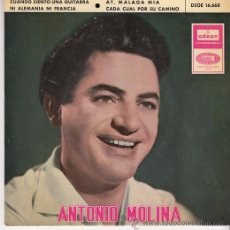 Discos de vinilo: ANTONIO MOLINA - CUANDO SIENTO UNA GUITARRA - EP DE VINILO 1965. Lote 49426945