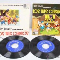 Discos de vinilo: 2 EP VINILO - CUENTO Y MÚSICA ORIGINAL DE LA PELÍCULA LOS TRES CERDITOS, VOL 1 Y 2 - DISNEY, 1962. Lote 49428201