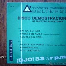Discos de vinilo: LUC BARRETO - MONICA - MARY CRUZ - LOS MISMOS - MANOLO ESCOBAR - ALBERTO - DISCO DEMOSTRACION BELTER. Lote 49444802