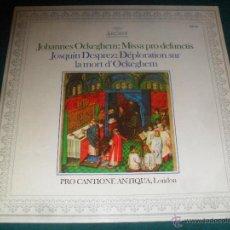 Discos de vinilo: JOHANNES OCKEGHEM: MISSA PRO DEFUNCTIS/DESPREZ: DEPLORATION SUR LA MORT D´OCKEGHEM. ARCHIV 1975. Lote 49446234