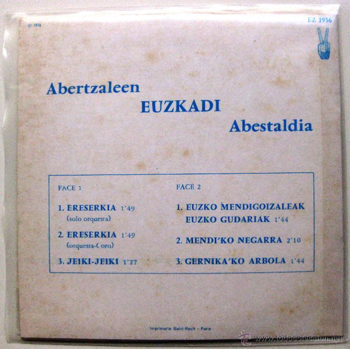 Discos de vinilo: Abertzaleen Euzkadi Abestaldia 1936-1976 Euzkadi'ko Jaurlaritza - EP Euzkadi 1976 Francia BPY - Foto 2 - 137738024