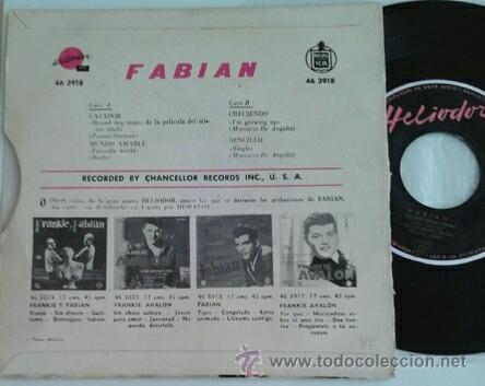 Discos de vinilo: FABIAN -EP- CAZADOR + 3 SPAIN 1960 - Foto 2 - 49451971