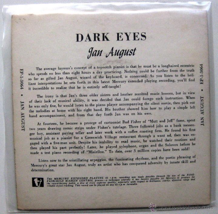 Discos de vinilo: Jan August - Dark Eyes - EP Mercury 1954 USA BPY - Foto 2 - 49472559