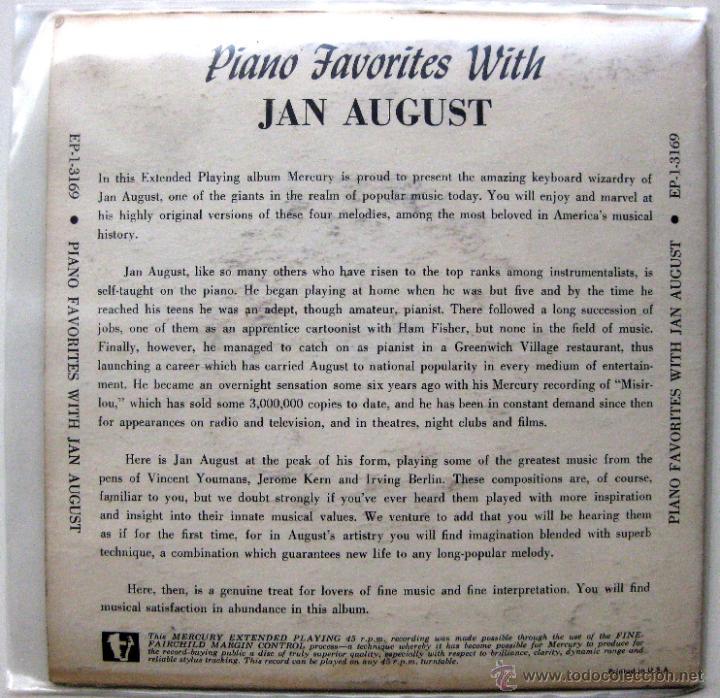 Discos de vinilo: Jan August - Piano Favorites With Jan August - EP Mercury 1954 USA BPY - Foto 2 - 49472593