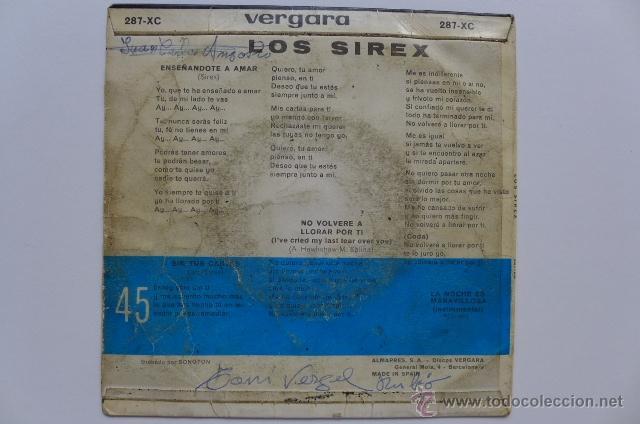 Discos de vinilo: Carpeta de single. Los Sirex. Enseñándote a a amar + 3. EP Vergara. Año 1967. - Foto 2 - 49475431