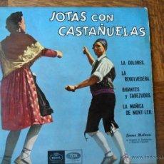 Discos de vinilo: JOTAS CON CASTAÑUELA, EMMA MALERAS Y ORQ.- LA DOLORES/ LA MAÑICA DE MONT-LER + 2 - EP 1958 ARAGON. Lote 49509549