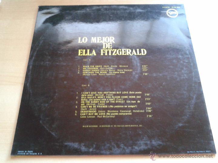 Discos de vinilo: ELLA FITZGERALD, THE BEST OF. - DISCO VINILO AÑO 1970. VELWE POLYGRAM. - Foto 2 - 49531521