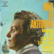 Discos de vinilo: NIÑA DE ANTEQUERA EP COLUMBIA 1960 MARIA ROSA DE LEON/ AY MI PERRO/ LLEGO EL FLORERO/ VILLANCICOS DE. Lote 49541228
