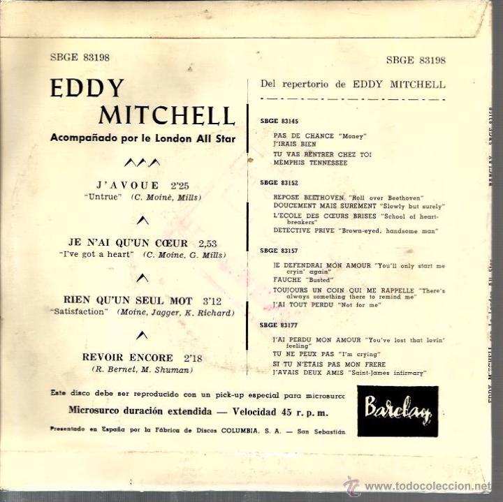 Discos de vinilo: EP EDDY MITCHELL : J´AVOUE + RIEN QU´UN SEUL MOT ( ROLLING STONES SATISFACTION ) + 2 - Foto 2 - 49542007