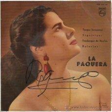 Discos de vinilo: LA PAQUERA DE JEREZ EP PHILIPS 1960 TE TENGO Q VER LLORAR/ REMEDIO NO ENCUENTRO +2 FIRMADO PORTADA. Lote 172872393