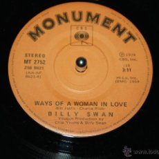 Discos de vinilo: BILLY SWAN WAYS OF A WOMAN IN LOVE / I CAN HELP MONUMENT MT2752 (CBS) 1974 --- MINT-. Lote 49562111