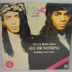 Discos de vinilo: DISCO VINILO MILLI VANILLI - ALL OR NOTHING 1989 GIRL YOU KNOW IT'S TRUE I'M GONNA MISS YOU. Lote 49563490