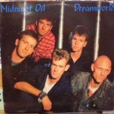 Discos de vinilo: MIDNIGHT OIL - DREAMWORLD - DOBLE LP EN DIRECTO - VINILOS DE COLORES AZUL Y ROJO. Lote 49585517