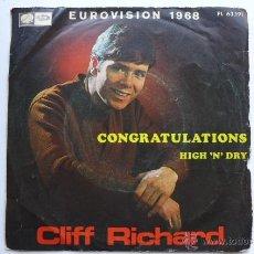 Discos de vinilo: EUROVISION 1968. CLIFF RICHARD. CONGRATULATIONS / HIGH'N'DRY. LA VOZ DE SU AMO. AÑO 1968. Lote 49586140