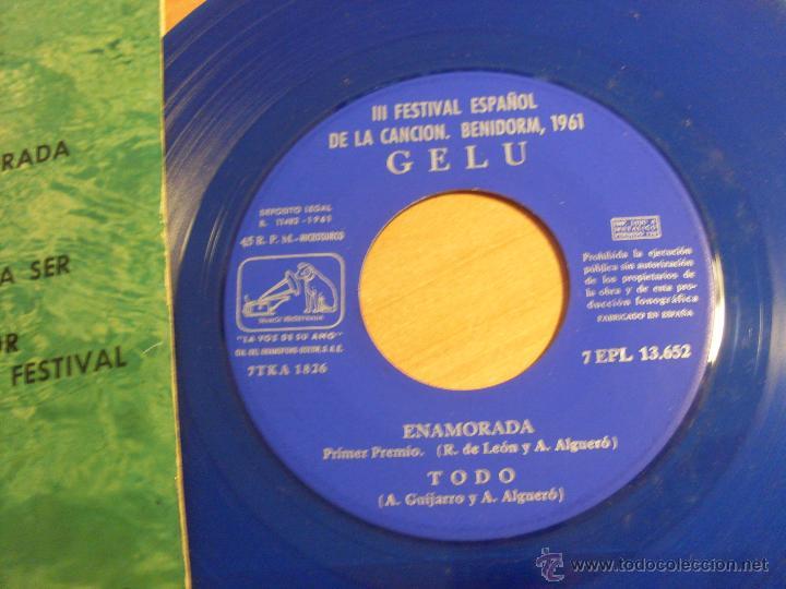 Discos de vinilo: GELU III FESTIVAL CANCION BENIDORM 1961 (ENAMORADA + 3) EP ESPAÑA 1961 VINILO AZUL (EX+/EX) (EP12) - Foto 2 - 49593355