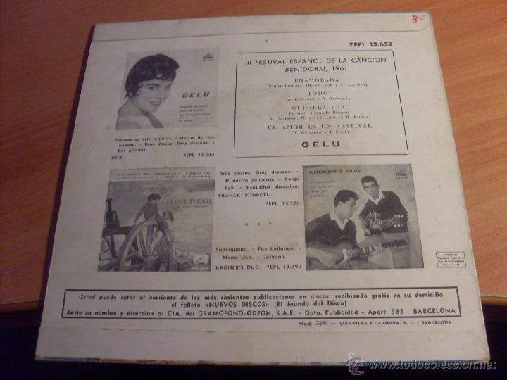 Discos de vinilo: GELU III FESTIVAL CANCION BENIDORM 1961 (ENAMORADA + 3) EP ESPAÑA 1961 VINILO AZUL (EX+/EX) (EP12) - Foto 3 - 49593355