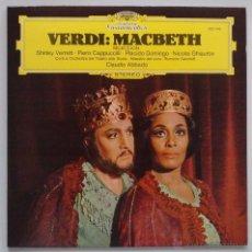 Discos de vinilo: VERDI: MACBETH. VERRETT, CAPPUCCILLI, DOMINGO, GHIAUROV. DEUTSCHE 1979 SIN ESCUCHAR. Lote 49619335