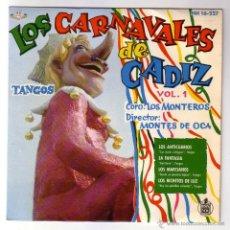 Discos de vinilo: LOS CARNAVALES DE CÁDIZ.VOL.1.CORO LOS MONTEROS.EP.HISPAVOX.1961. Lote 49648768