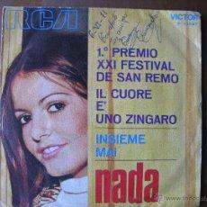 Discos de vinilo: NADA. 1º PREMIO XXI FESTIVAL DE SAN REMO. IL CUORE E' UNO ZINGARO. SINGLE.RCA VICTOR 1971. Lote 49681857