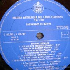 Discos de vinilo: FANDANGOS DE HUELVA .FOLKLORE ESPAÑOL.COLECCION GARCIA MATOS. Lote 49685915