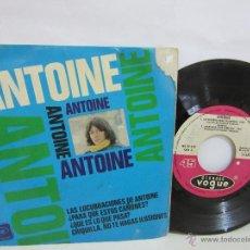 Discos de vinilo: ANTOINE - LAS LUCRUBACIONES DE ANTOINE - EP - 1966 - DISQUES VOGUE - RARO - G/G. Lote 49688424