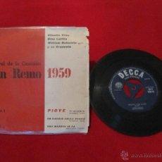 Discos de vinilo: IX FESTIVAL DE LA CANCIÓN SAN REMO 1959 - CLAUDIO VILLA, GINO LATILLA, WILLIAM GALASSINI - VOLUMEN 1. Lote 49703696