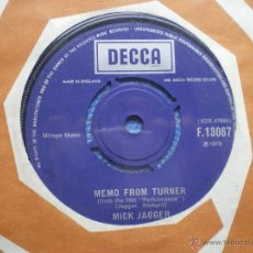 Discos de vinilo: MICK JAGGER MEMO FROM TURNER + NATURAL MAGIC SINGLE UK 1970 PDELUXE. Lote 49718656