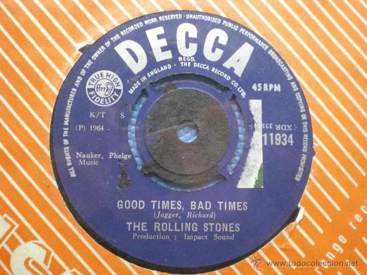 Discos de vinilo: THE ROLLING STONES IT´S ALL OVER NOW/GOOD TIMES .... SINGLE UK 1964 PDELUXE - Foto 2 - 49718777