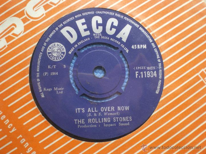 Discos de vinilo: THE ROLLING STONES IT´S ALL OVER NOW/GOOD TIMES .... SINGLE UK 1964 PDELUXE - Foto 3 - 49718777