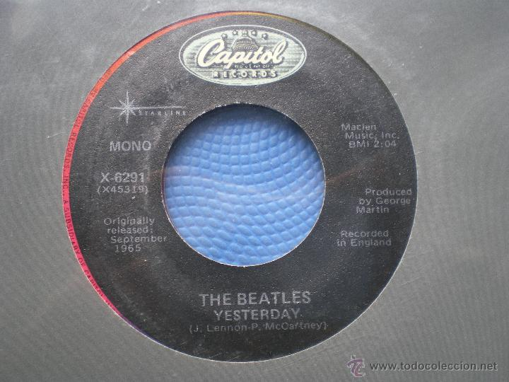 Discos de vinilo: THE BEATLES YESTERDAY/ACT NATURALLY SINGLE USA PDELUXE - Foto 2 - 49719023