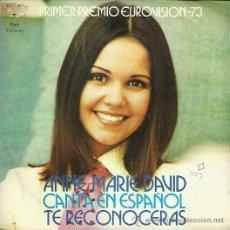 Discos de vinilo: ANNE MARIE DAVID CANTA EN ESPAÑOLSINGLE SELLO EPIC AÑO 1973 EDITADO EN ESPAÑA EUROVISION. Lote 49721196