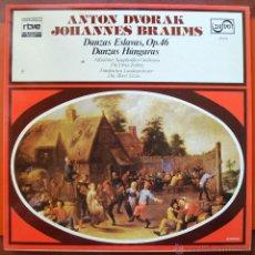 Discos de vinilo: ANTON DVORAK - JOHANNES BRAHMS - DANZAS ESLAVAS DANZAS HUNGARAS MUNDO DE LA MÚSICA - RTVE - ZAFIRO. Lote 49730280