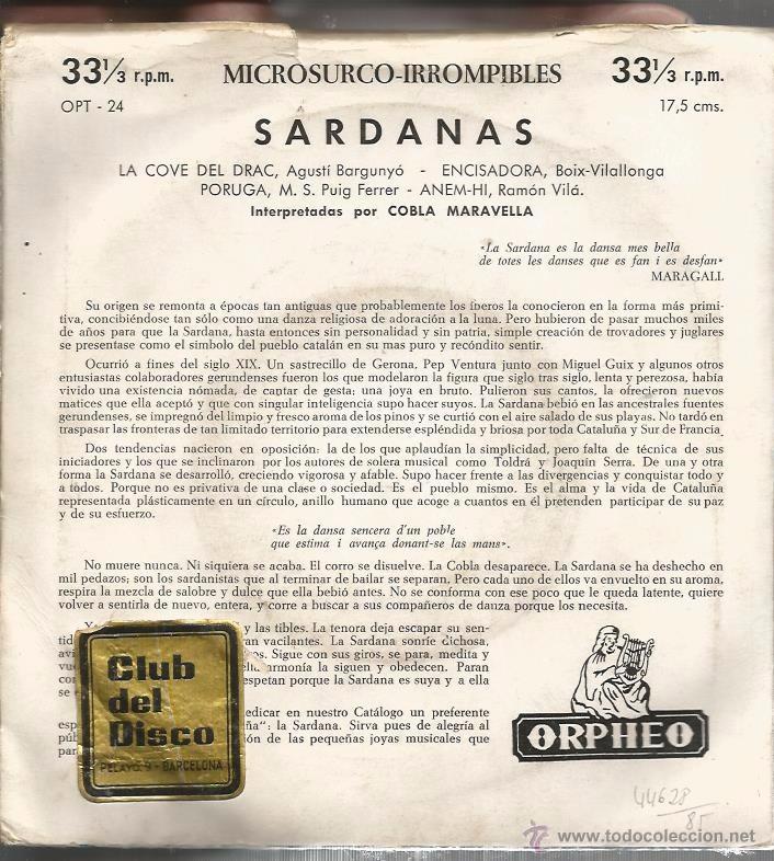 Discos de vinilo: EP COBLA MARAVELLA : SARDANAS & SARDANES : LA COVE DEL DRAC + 3 - Foto 2 - 49737509