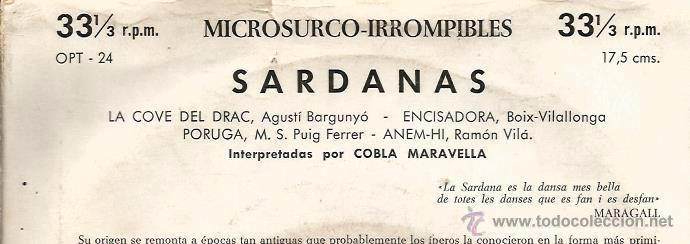 Discos de vinilo: EP COBLA MARAVELLA : SARDANAS & SARDANES : LA COVE DEL DRAC + 3 - Foto 3 - 49737509