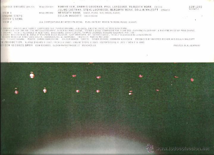 Discos de vinilo: LP MEREDITH MONK : TURTLE DREAMS - Foto 2 - 49739844