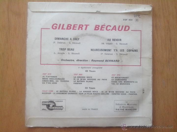 Discos de vinilo: GILBER BECAUD.DIMANCHE A ORLY.TROP BEAU.AU REVOIR.HEUREUSEMENT Y´A LES COPAINS. LA VOZ DE SU AMO - Foto 2 - 49754264