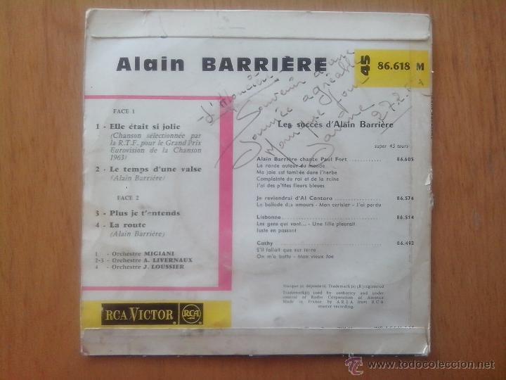 Discos de vinilo: ALAIN BARRIERE.ELLE ÉTAIR SI JOLIE.LE TEMPS D´UNE VALSE.PLUS JE TÉNTENS. LA ROUTE. EUROVISION 1963 - Foto 2 - 49754672