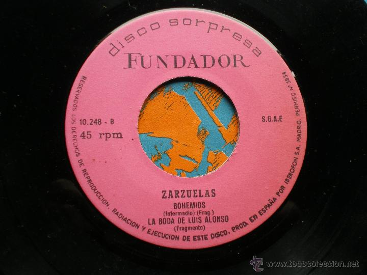 Discos de vinilo: FUNDADOR EP ZARZUELAS 1972 VER FOTOS TITULOS - Foto 2 - 49789629