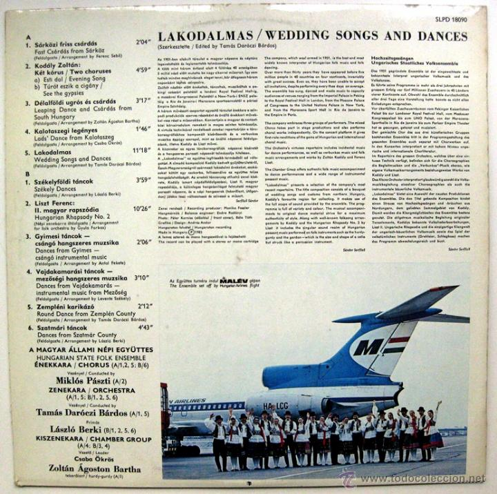 Discos de vinilo: Hungarian State Folk Ensemble - Lakodalmas / Wedding Songs And Dances - LP Hungaroton 1983 BPY - Foto 2 - 49789697