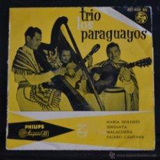 Discos de vinilo: TRIO LOS PARAGUAYOS. MARIA DOLORES / SERENATA / MALAGUEÑA / PAJARO CAMPANA. PHILIPS 1958. Lote 49840378