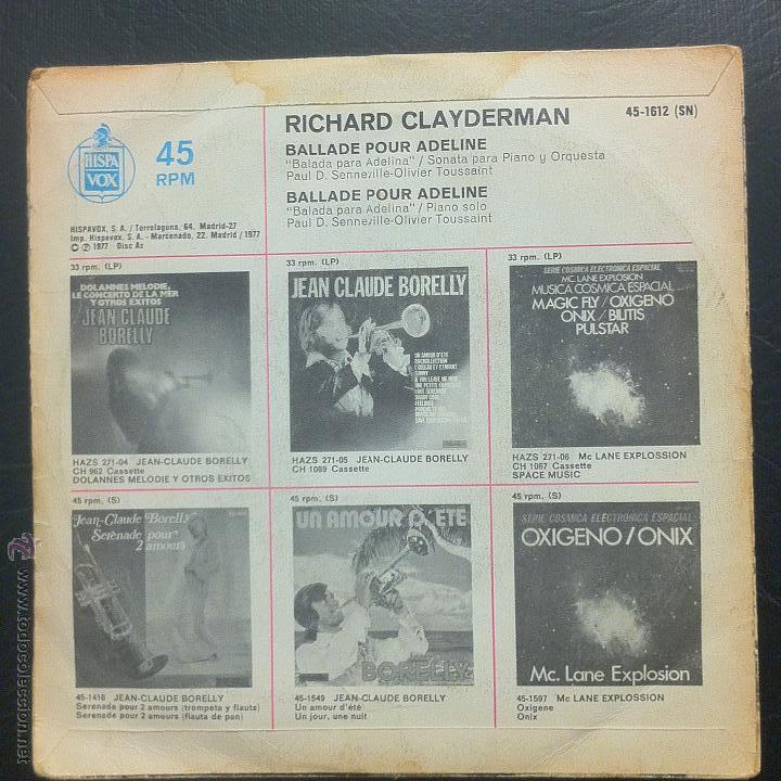 Discos de vinilo: SINGLE RICHARD CLAYDERMAN - BALLADE POUR ADELINE - HISPAVOX 1977. - Foto 2 - 49879673