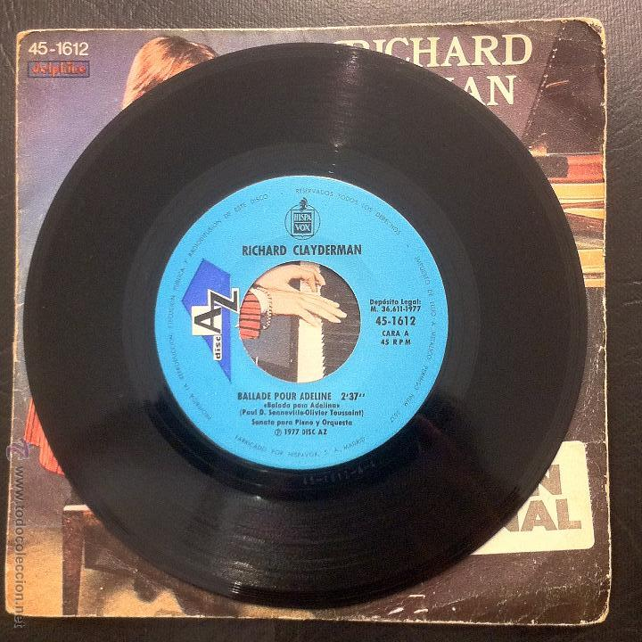 Discos de vinilo: SINGLE RICHARD CLAYDERMAN - BALLADE POUR ADELINE - HISPAVOX 1977. - Foto 3 - 49879673
