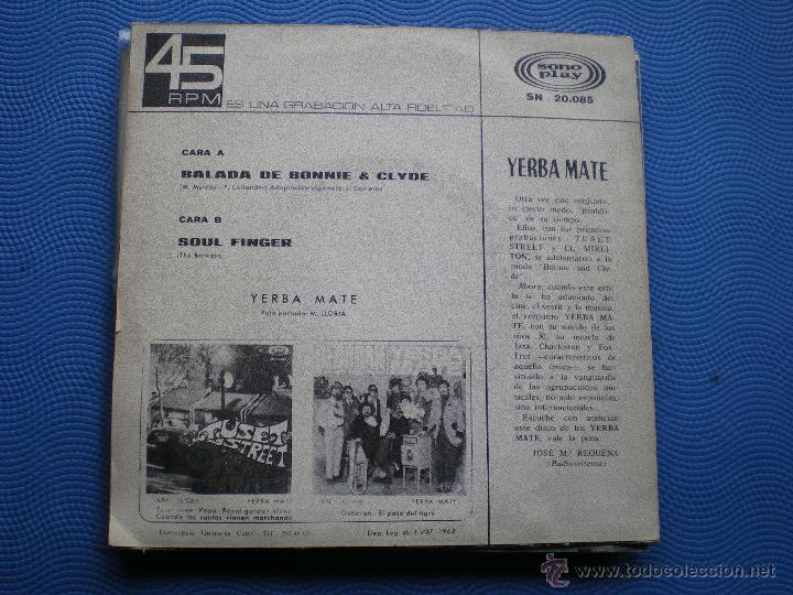 Discos de vinilo: YERBA MATE BALADA DE BONNIE & CLYDE SINGLE SPAIN 1968 PDELUXE - Foto 2 - 49898288