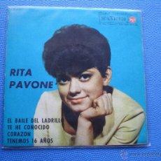 Discos de vinilo: RITA PAVONE EL BAILE DEL LADRILLO+3 EP SPAIN 1963 PDELUXE. Lote 49927494
