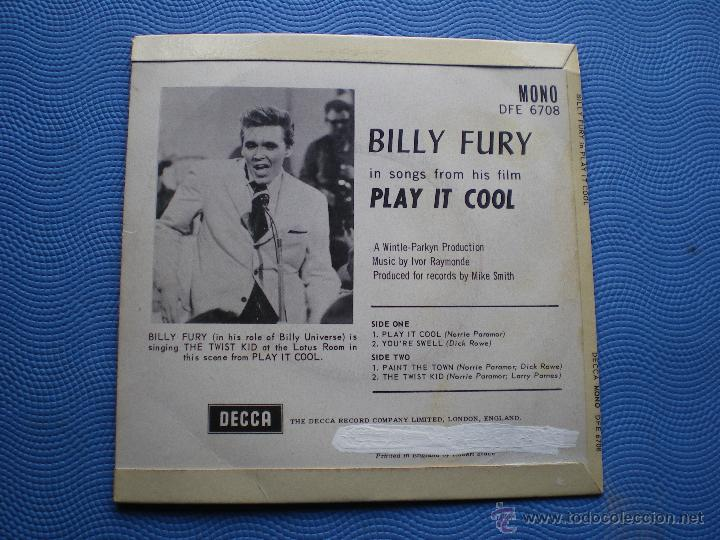 Discos de vinilo: BILLY FURY PLAY IT OOL+3 EP UK 1962 PDELUXE - Foto 2 - 49936076