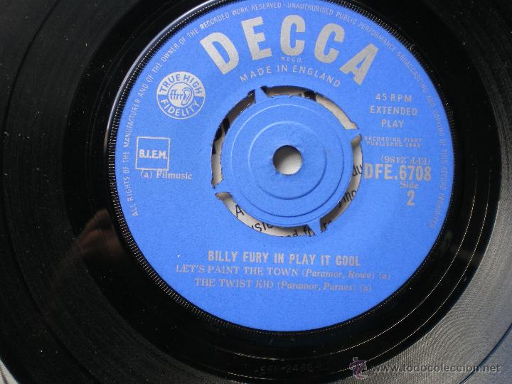 Discos de vinilo: BILLY FURY PLAY IT OOL+3 EP UK 1962 PDELUXE - Foto 3 - 49936076