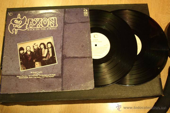SAXON, BACK ON THE STREET, 2LPS CONNOSSEU COLLECTION RECORDS, 1989, MADE IN UK, GATEFOLD (Música - Discos - LP Vinilo - Heavy - Metal)