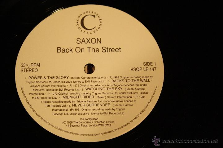 Discos de vinilo: SAXON, BACK ON THE STREET, 2LPs CONNOSSEU COLLECTION RECORDS, 1989, MADE IN UK, GATEFOLD - Foto 3 - 49945026