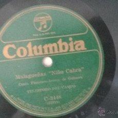 Discos de vinilo: DISCO PIZARRA MALAGUEÑAS JUAN BREVA Y NIÑO DE LAS CABRAS GUITARRA TELESFORO DEL CAMPO. Lote 49953389