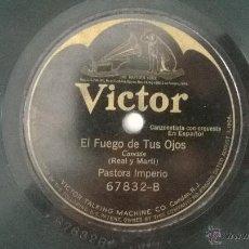 Discos de vinilo: DISCO PIZARRA EL FUEGO DE TUS OJOS PASTORA IMPERIO Y LA GEISHA COUPLETS. Lote 49953518